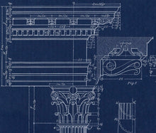 Load image into Gallery viewer, Corinthian Column Blueprint Architectural Drawing Closeup