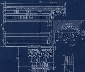 Corinthian Column Blueprint Architectural Drawing Closeup