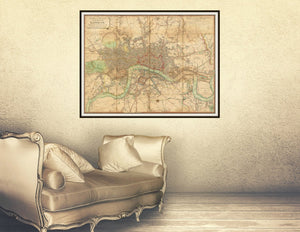 1813 London Map Print Framed Hanging In A Dressing Room