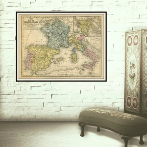 No.24 Map of France, Spain, Portugal & Italy Framed Hanging In A Boudoir