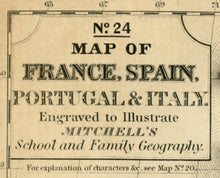Load image into Gallery viewer, No.24 Map of France, Spain, Portugal & Italy Map Nameplate