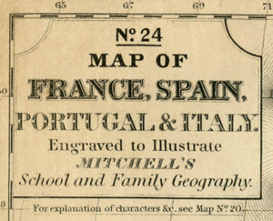 No.24 Map of France, Spain, Portugal & Italy Map Nameplate