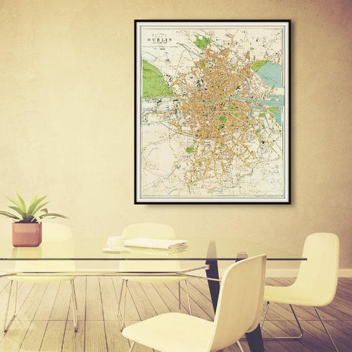 Bacon's Plan of Dublin Ireland & Suburbs Map Print Framed Hanging In A Conference Room