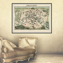 Load image into Gallery viewer, Nouveau Paris Monumental Vintage Map Print Framed Hanging In A Dressing Room