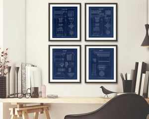 Architectural Blueprint Column Drawings Framed Hanging Above A  Desk