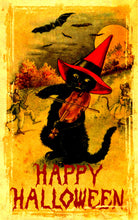 Load image into Gallery viewer, Vintage Halloween Fiddling Cat Art Print Color Boost