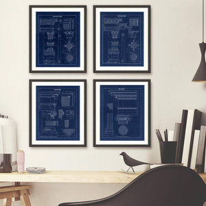 Grecian Ionic Column Parts Blueprint Architectural Drawing Art Print Hanging With 3 Others