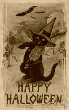 Load image into Gallery viewer, Vintage Halloween Fiddling Cat Art Print Sepia Color