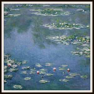 Claude Monet Water Lilies at Giverny Art Print In a Simple Black Metal Frame