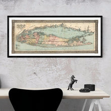 Load image into Gallery viewer, Vintage 1866 Long Island Travellers Map Framed Hanging Above A Desk