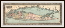 Load image into Gallery viewer, Vintage 1866 Long Island Travellers Map In A Simple Black Metal Frame