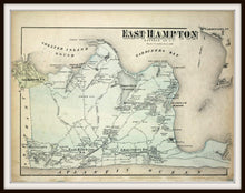 Load image into Gallery viewer, 1873 Beer's Map Of East Hampton Fine Art Print Framed In A Simple Black Metal Frame