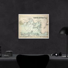 Load image into Gallery viewer, 1873 Beer's Map Of East Hampton Print Framed Hanging On A Black Wall Above A Computer Desk