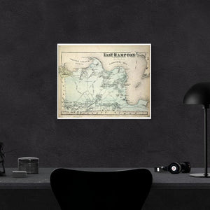1873 Beer's Map Of East Hampton Print Framed Hanging On A Black Wall Above A Computer Desk