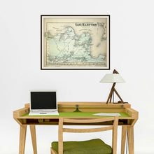 Load image into Gallery viewer, 1873 Beer's Map Of East Hampton Print Framed Hanging Above A Computer Desk