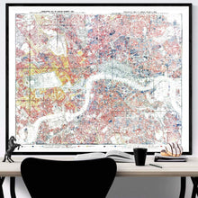 Load image into Gallery viewer, Charles Booth London Poverty Map Print Framed Hanging Above A Desk