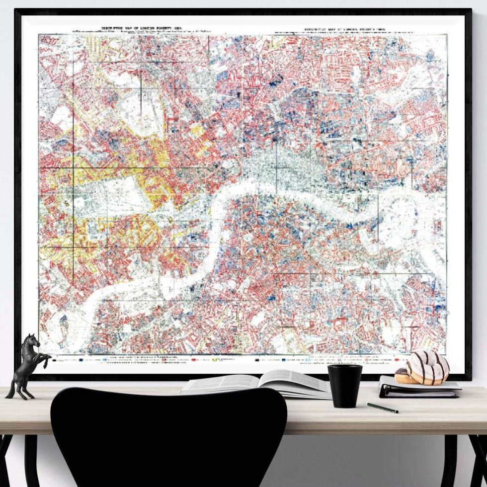Charles Booth London Poverty Map Print Framed Hanging Above A Desk