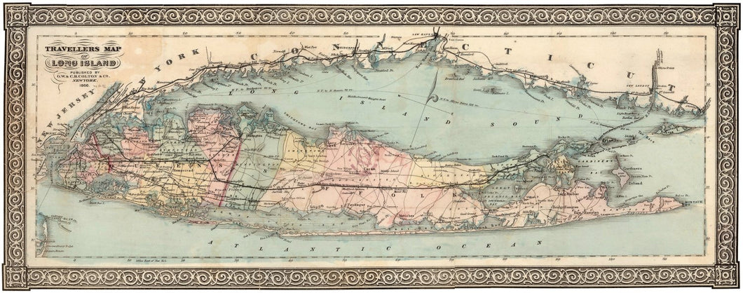 Vintage 1866 Long Island Travellers Map