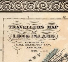 Load image into Gallery viewer, Vintage 1866 Long Island Travellers Map Nameplate
