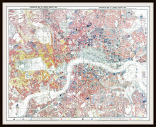 Load image into Gallery viewer, Charles Booth London Poverty Map Print In A Simple Black Metal Frame