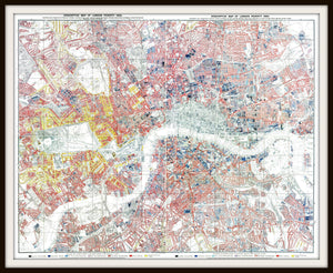 Charles Booth London Poverty Map Print In A Simple Black Metal Frame