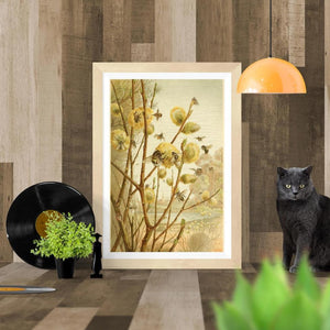 Honey Bees on Pussywillow Art Print