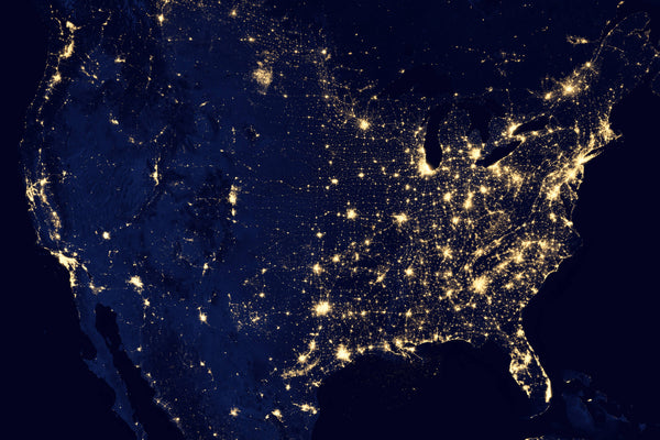 Nighttime Lights Shining From Space on USA Map