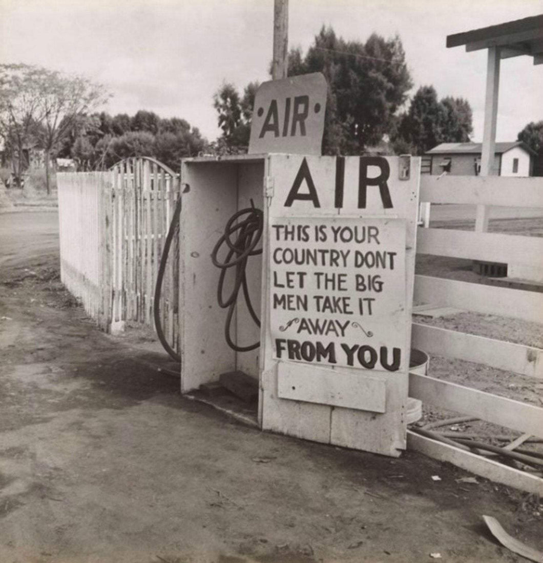 Dorothea Lange Kern County CA Gas Station AIR Sign