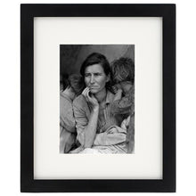 Load image into Gallery viewer, Dorothea Lange Migrant Mother Print With White Mat & Black Wooden Frame
