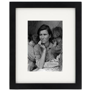 Dorothea Lange Migrant Mother Print With White Mat & Black Wooden Frame