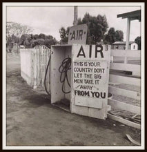 Load image into Gallery viewer, Dorothea Lange Kern County CA Gas Station AIR Sign In A Simple Black Metal Frame