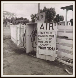 Dorothea Lange Kern County CA Gas Station AIR Sign In A Simple Black Metal Frame