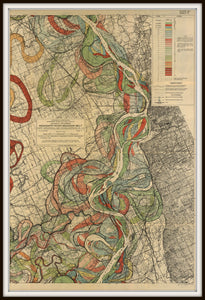 Harold Fisk Mississippi River Map Sheet 5 In A Simple Black Frame