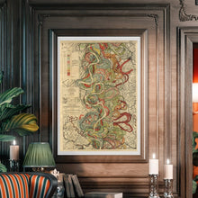 Load image into Gallery viewer, Harold Fisk Mississippi River Map Sheet 7 Framed Hanging In A Library