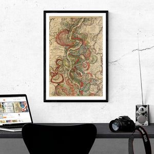 Harold Fisk Mississippi River Map Sheet 10 Framed & Hanging Above A Desk