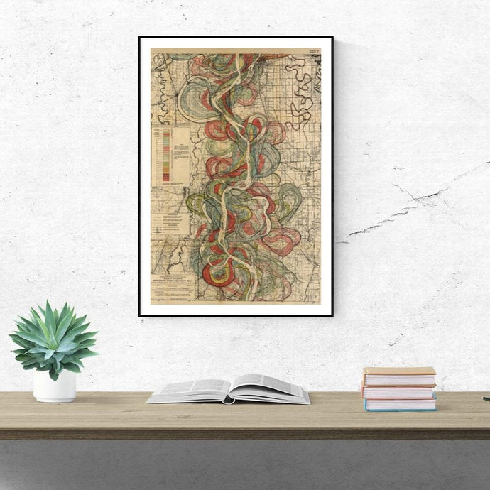 Harold Fisk Mississippi River Map Sheet 9 Framed & Hung Above A Desk