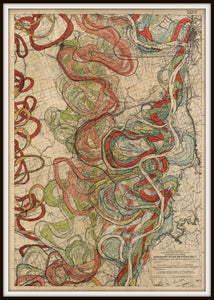 Cartographer Harold Fisk Mississippi River Map Fine Art Print Sheet 11 In A Simple Black Metal Frame