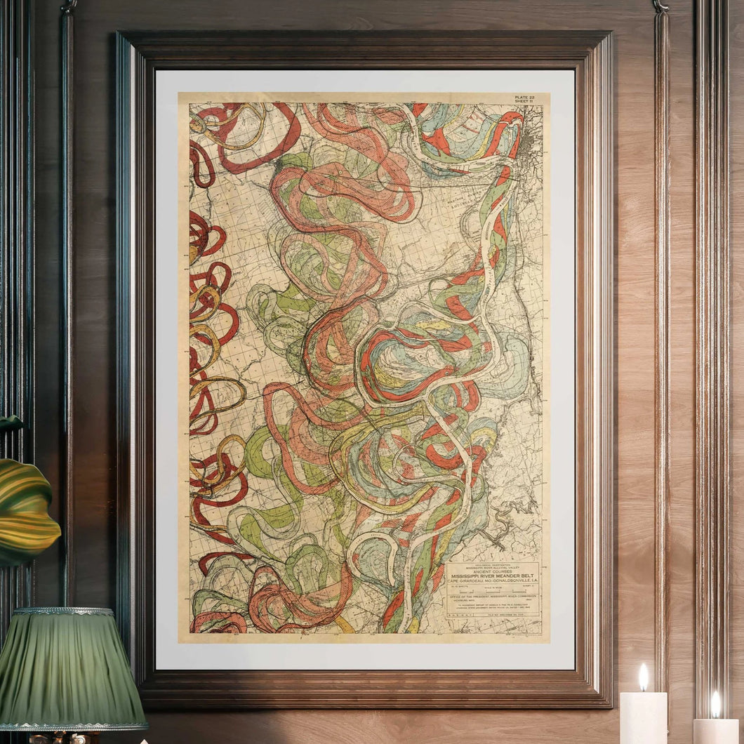 Harold Fisk Mississippi River Map Sheet 11 Framed & Hanging In A Library