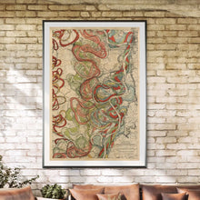 Load image into Gallery viewer, Cartographer Harold Fisk Mississippi River Map Fine Art Print Sheet 11 Framed & Hanging In A Sunroom