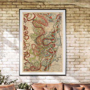 Cartographer Harold Fisk Mississippi River Map Fine Art Print Sheet 11 Framed & Hanging In A Sunroom
