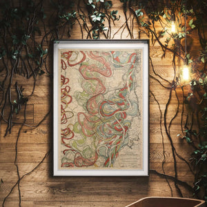 Cartographer Harold Fisk Mississippi River Map Fine Art Print Sheet 11 Framed & Hanging In A Waiting Area