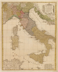 Vintage Italy Map Print From 1790