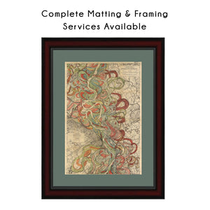 Harold Fisk Mississippi River Map Print Sheet 14 Matted & Framed