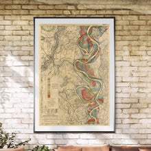 Load image into Gallery viewer, Harold Fisk Mississippi River Map Print Sheet 14 In A Sunroom