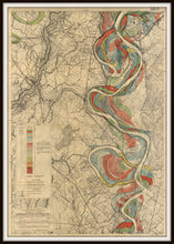 Load image into Gallery viewer, Harold Fisk Mississippi River Map Print Sheet 14 Framed In A Simple Black Frame