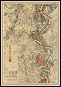 Harold Fisk Mississippi River Map Print Sheet 14 Framed In A Simple Black Frame
