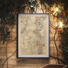 Load image into Gallery viewer, Harold Fisk Mississippi River Map Print Sheet 14 Framed In A Waiting Area