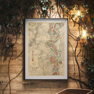 Harold Fisk Mississippi River Map Print Sheet 14 Framed In A Waiting Area