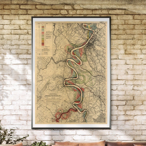Harold Fisk Mississippi River Map Sheet 15 Framed & Hanging In A Sun Room