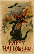 Load image into Gallery viewer, Vintage Halloween Fiddling Cat Art Print Normal Color
